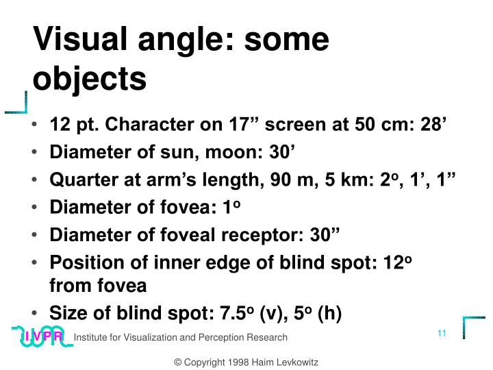 Visual angle: some objects