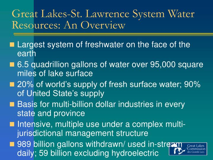 Great lakes st lawrence system water resources an overview