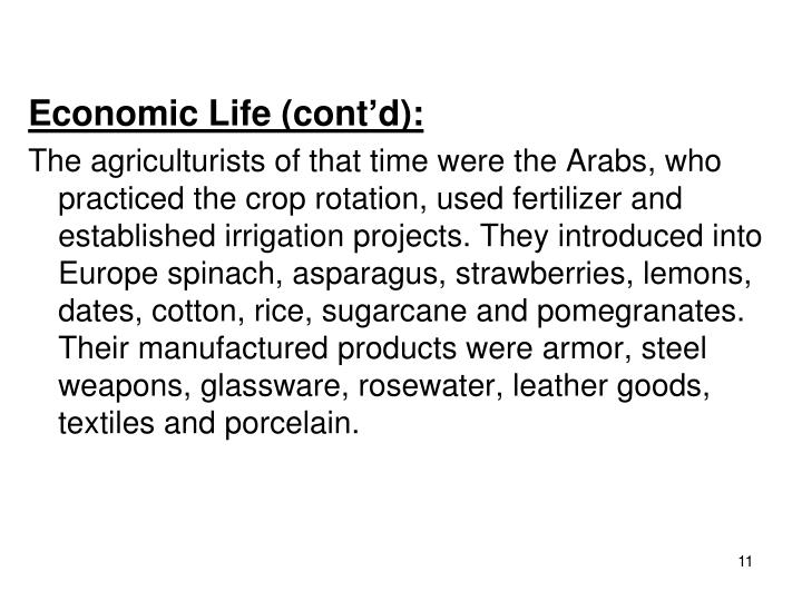 Economic Life (cont'd):