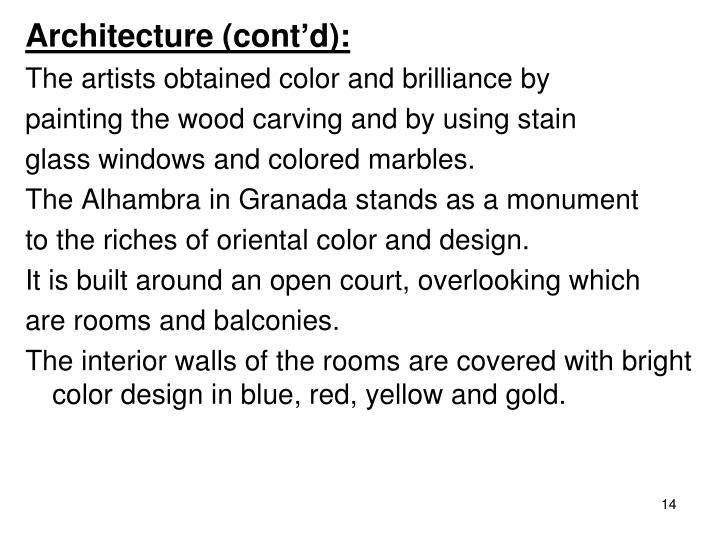 Architecture (cont'd):
