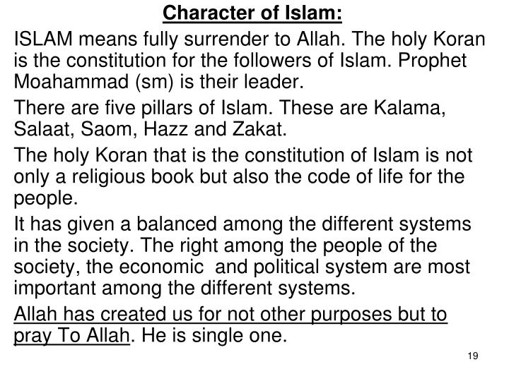 Character of Islam: