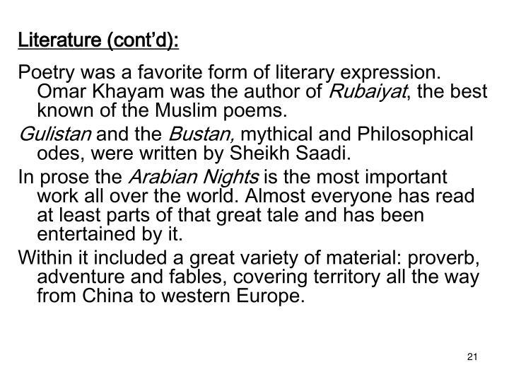 Literature (cont'd):