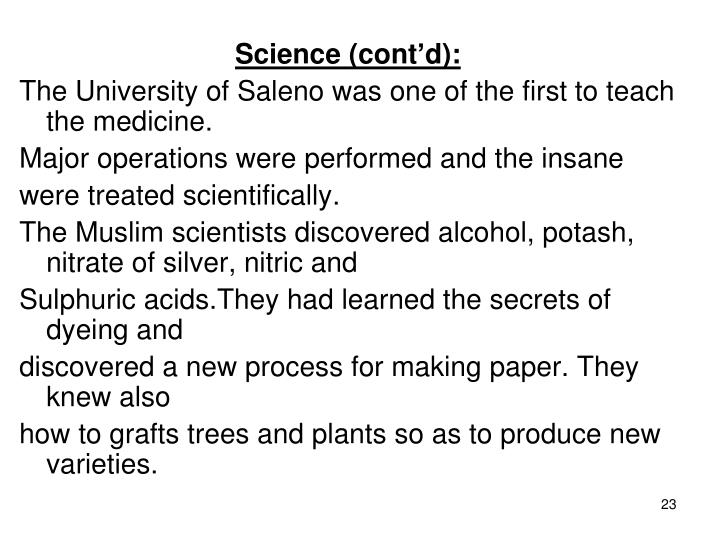 Science (cont'd):