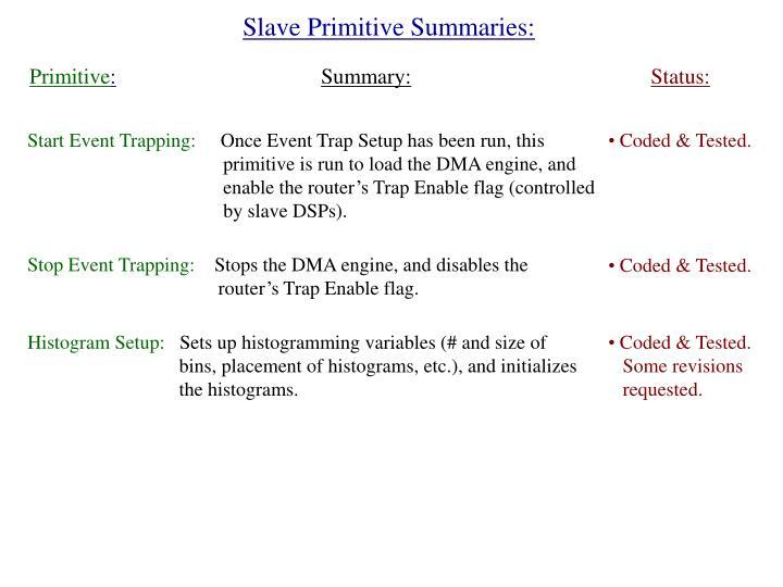 Slave Primitive Summaries: