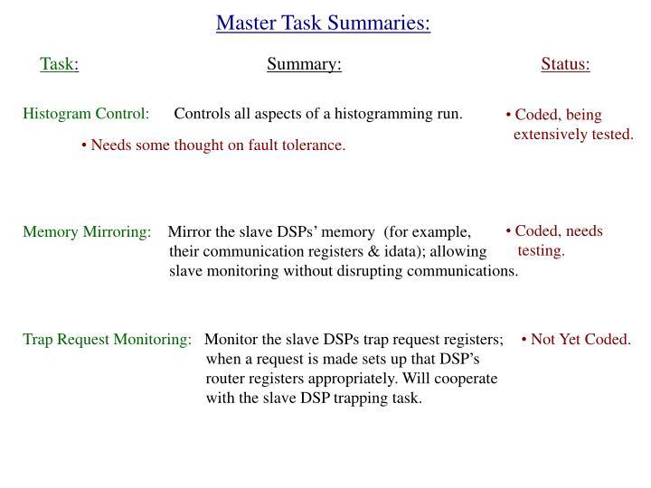 Master Task Summaries: