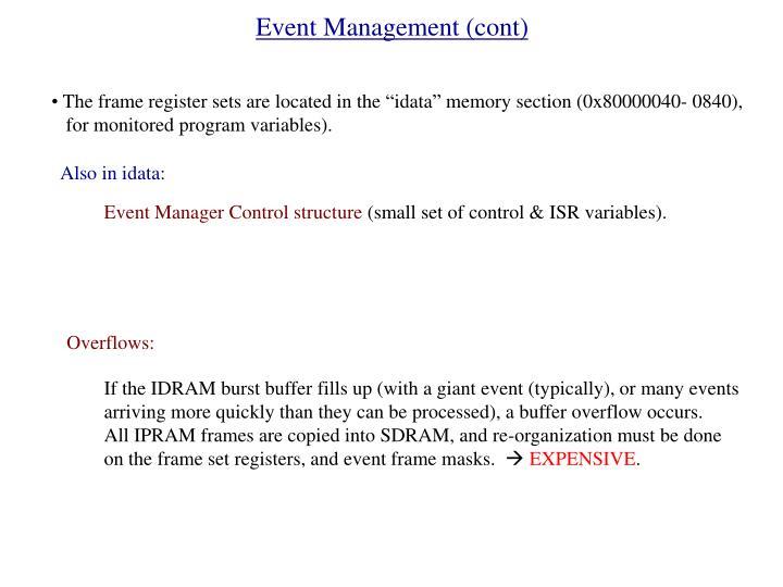 Event Management (cont)