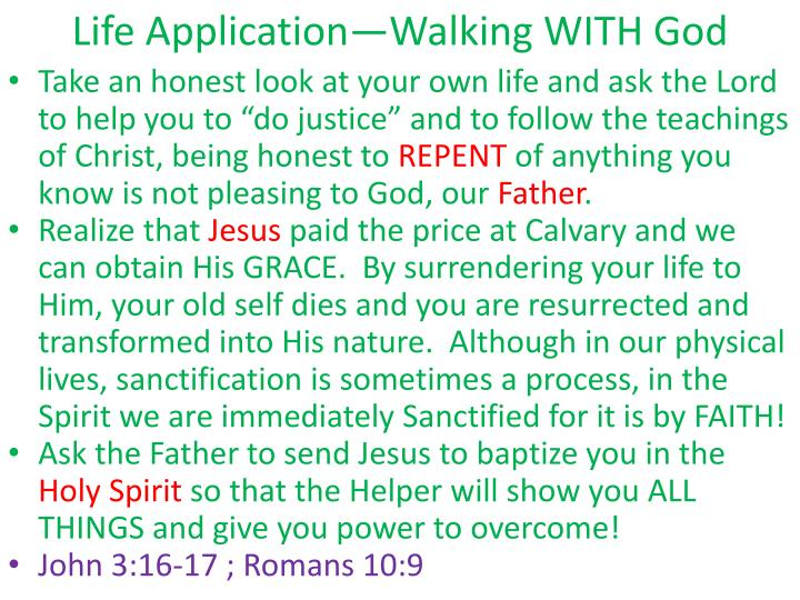 Life Application—Walking WITH God