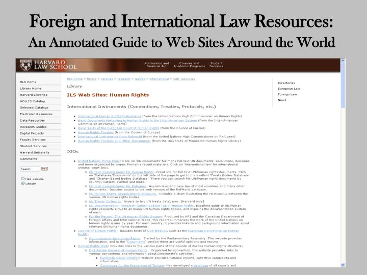 Foreign and International Law Resources:
