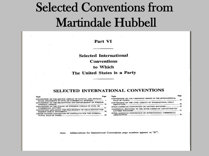 Selected Conventions from