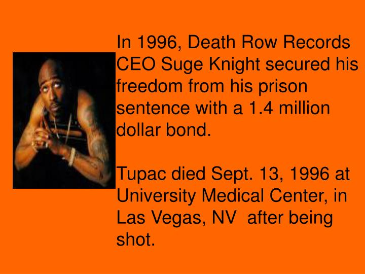 In 1996, Death Row Records CEO Suge Knight secured his freedom from his prison sentence with a 1.4 million dollar bond.