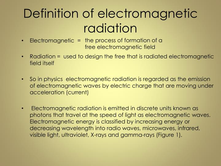 Definition of electromagnetic radiation