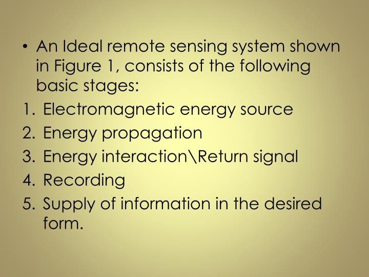 An Ideal remote sensing system shown in Figure 1, consists of the following basic stages: