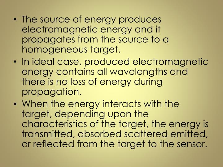 The source of energy produces electromagnetic energy and it propagates from the source to a homogeneous target.