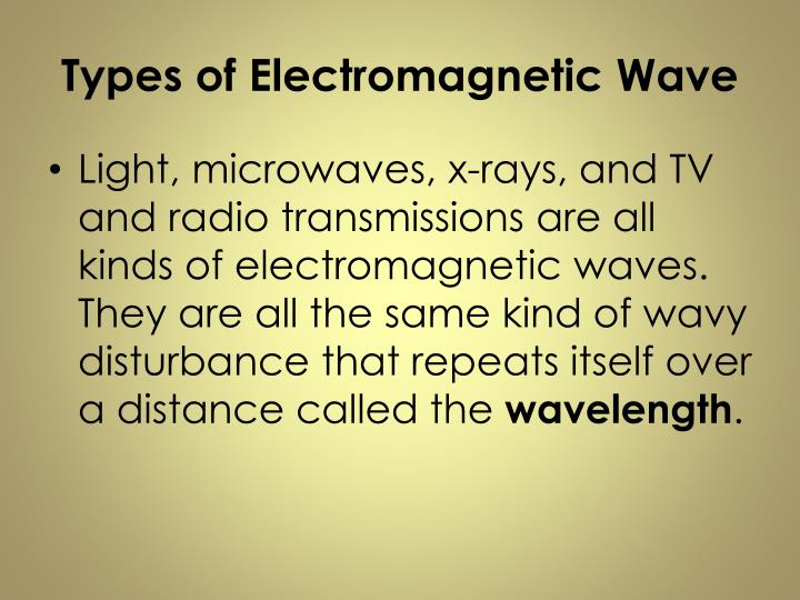 Types of Electromagnetic Wave