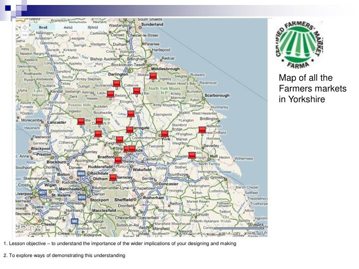 Map of all the Farmers markets in Yorkshire
