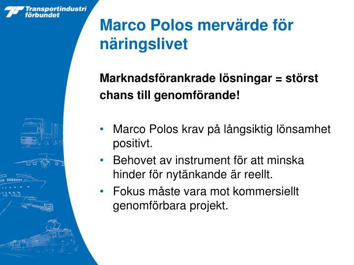 Marco Polos mervärde för näringslivet