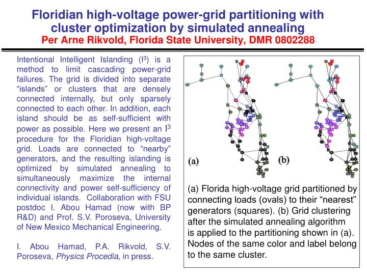 Floridian high-voltage power-grid partitioning with cluster optimization by simulated annealing