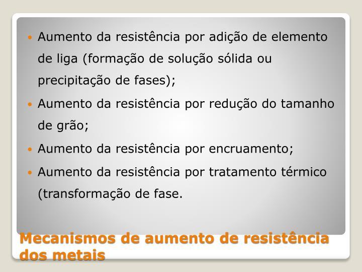 Aumento da resistência por adição de elemento de liga (formação de solução sólida ou precipitação de fases