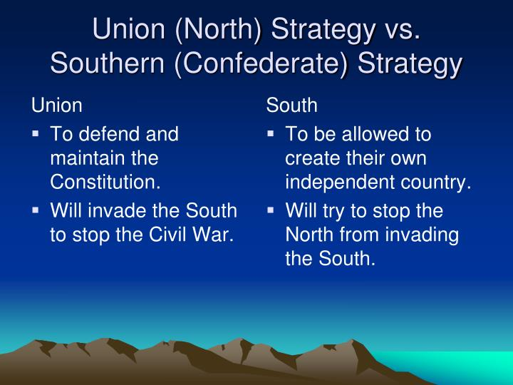 Union north strategy vs southern confederate strategy