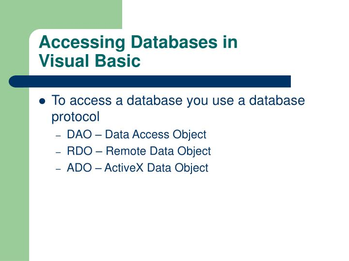 Accessing Databases in