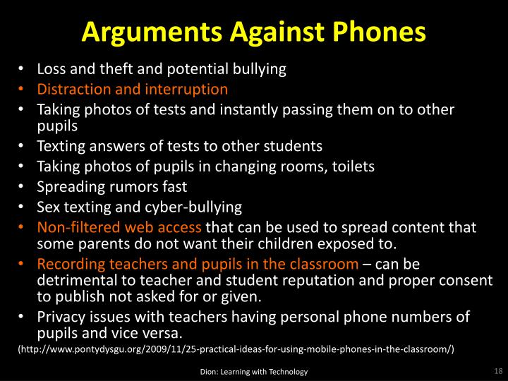 Arguments Against Phones