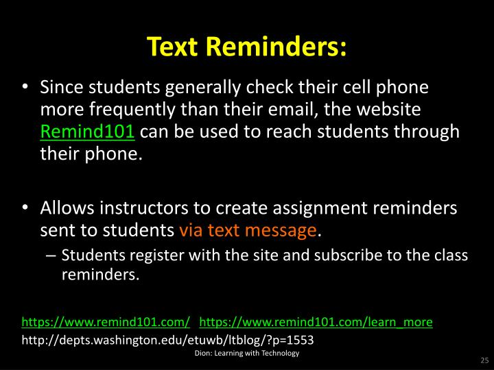 Text Reminders: