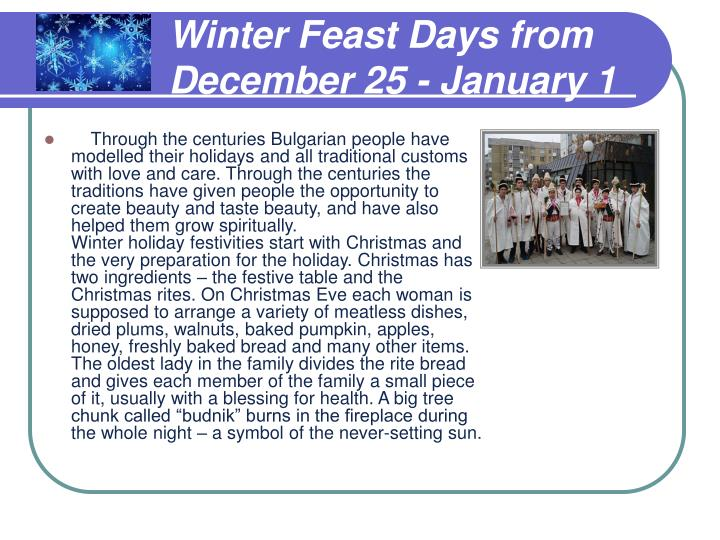 Winter Feast Days from December 25 - January 1