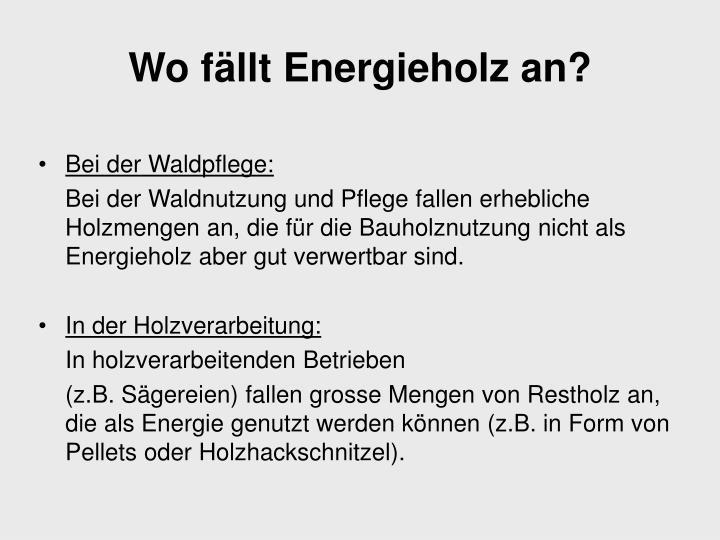 Wo fällt Energieholz an?