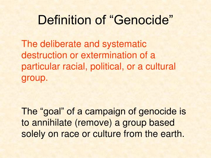"""Definition of """"Genocide"""""""