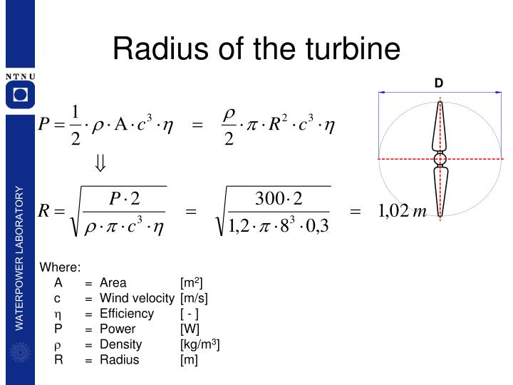 Radius of the turbine