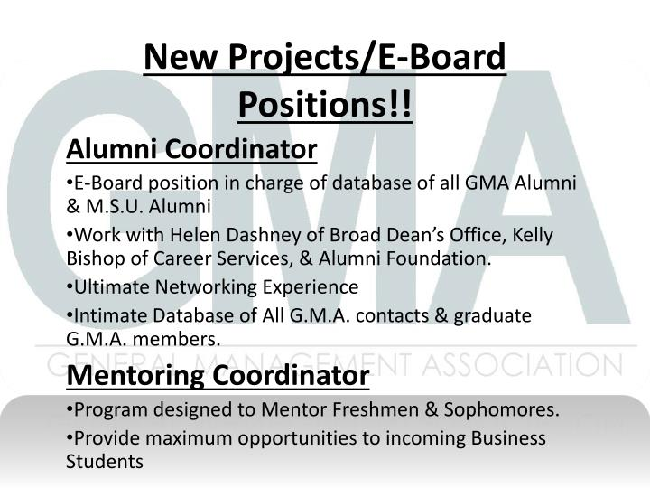 New projects e board positions
