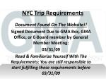 nyc trip requirements