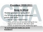 president 2010 2011