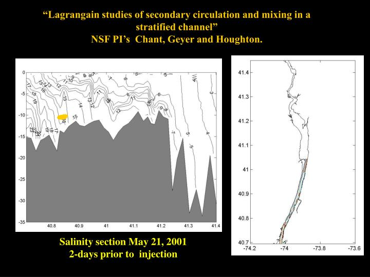 """Lagrangain studies of secondary circulation and mixing in a stratified channel"""