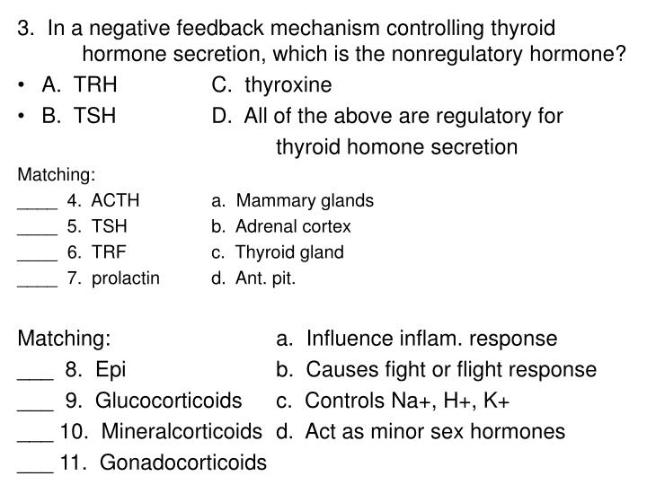 3.  In a negative feedback mechanism controlling thyroid 	hormone secretion, which is the