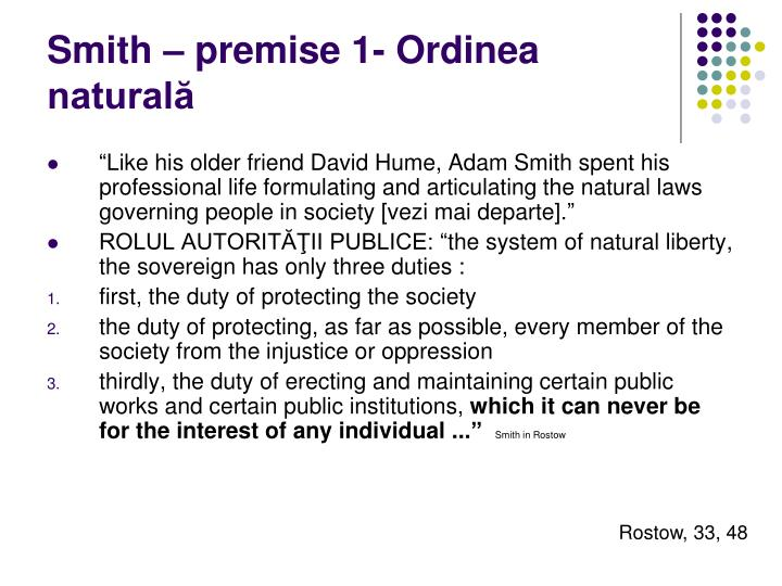 Smith – premise 1- Ordinea naturală