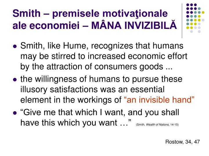Smith – premisele motivaţionale ale economiei – MÂNA INVIZIBILĂ