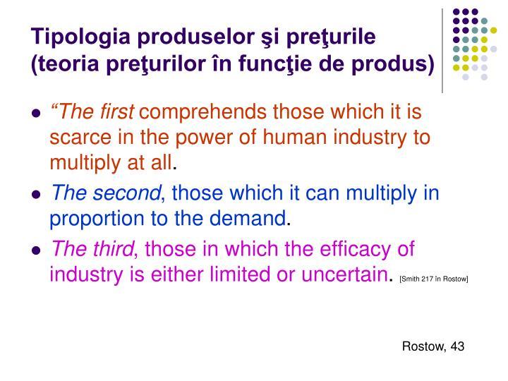 Tipologia produselor şi preţurile (teoria preţurilor în funcţie de produs)
