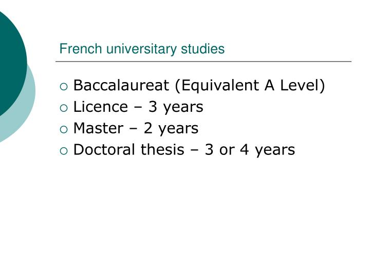 French universitary studies