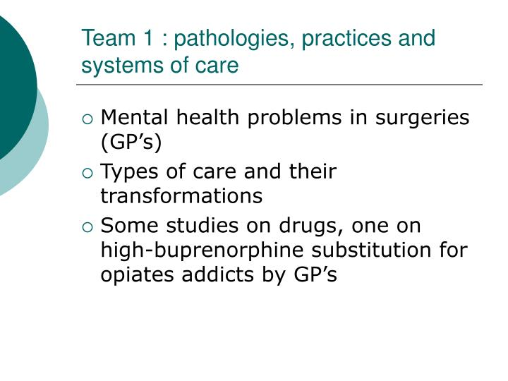 Team 1 : pathologies, practices and systems of care