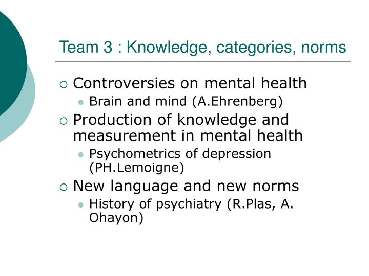 Team 3 : Knowledge, categories, norms