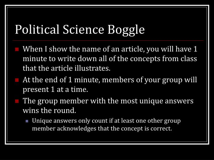 Political Science Boggle