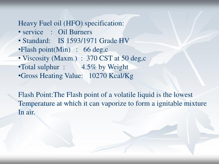 Heavy Fuel oil (HFO) specification: