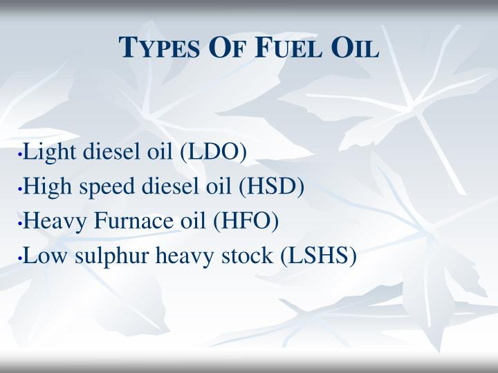 Types of fuel oil