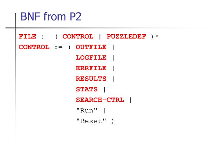 BNF from P2