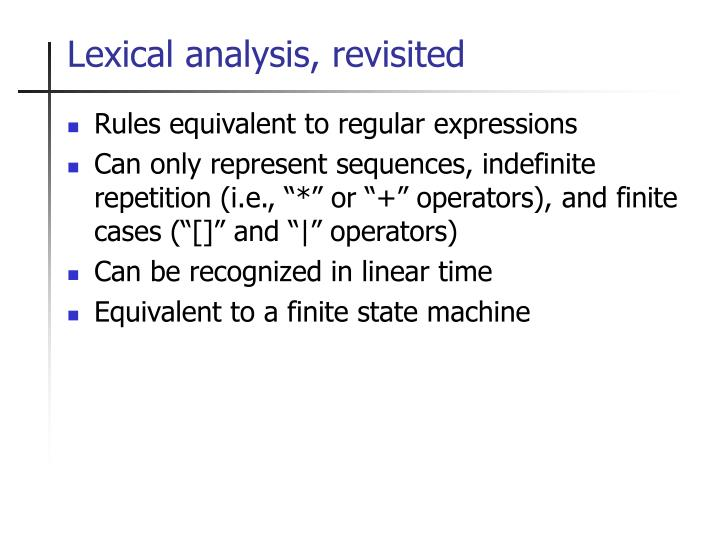 Lexical analysis, revisited