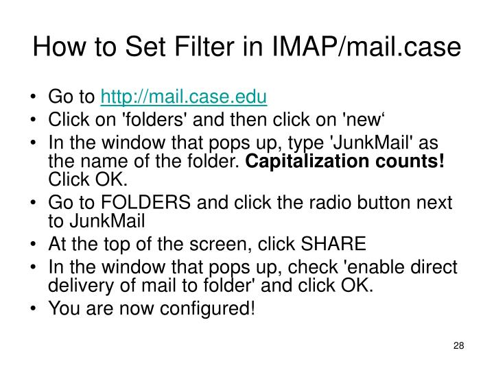 How to Set Filter in IMAP/mail.case