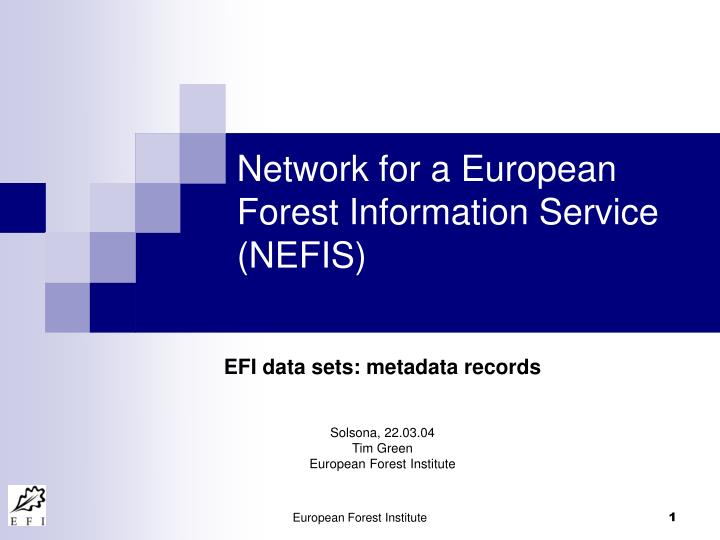 Network for a european forest information service nefis