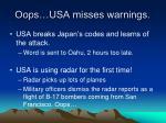 oops usa misses warnings
