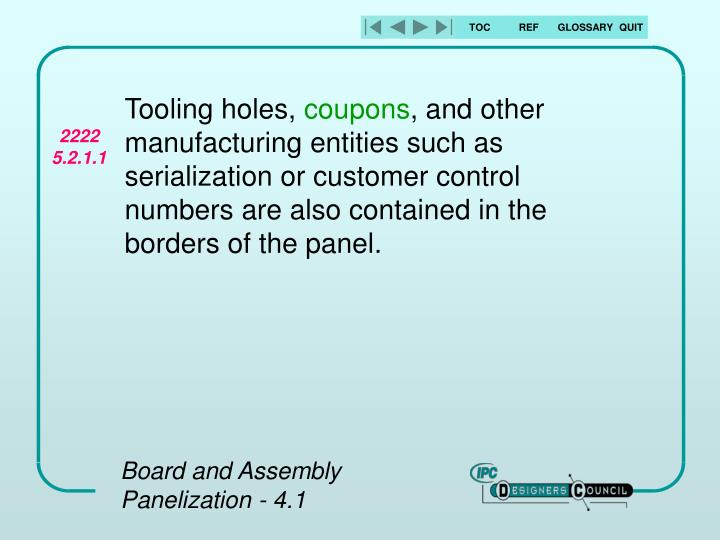 Tooling holes,
